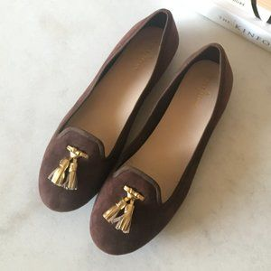New! Brown suede ballet flat / loafers gold tassel